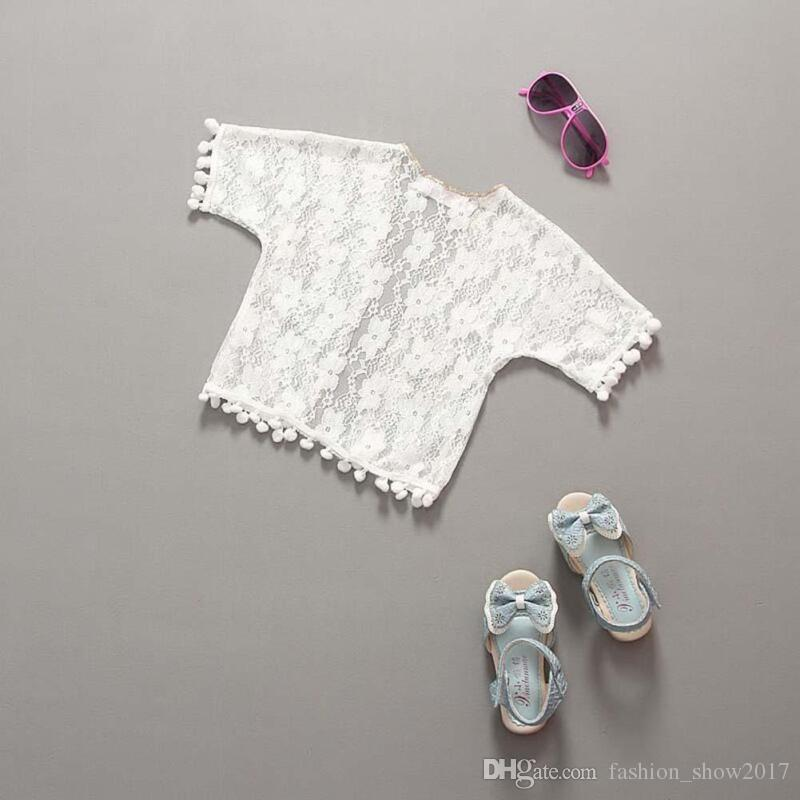 Summer Girls Jackets Casual Lace Outerwear for Girls Fashion White Kids Sunscreen Clothing Kids Baby Girls Clothes
