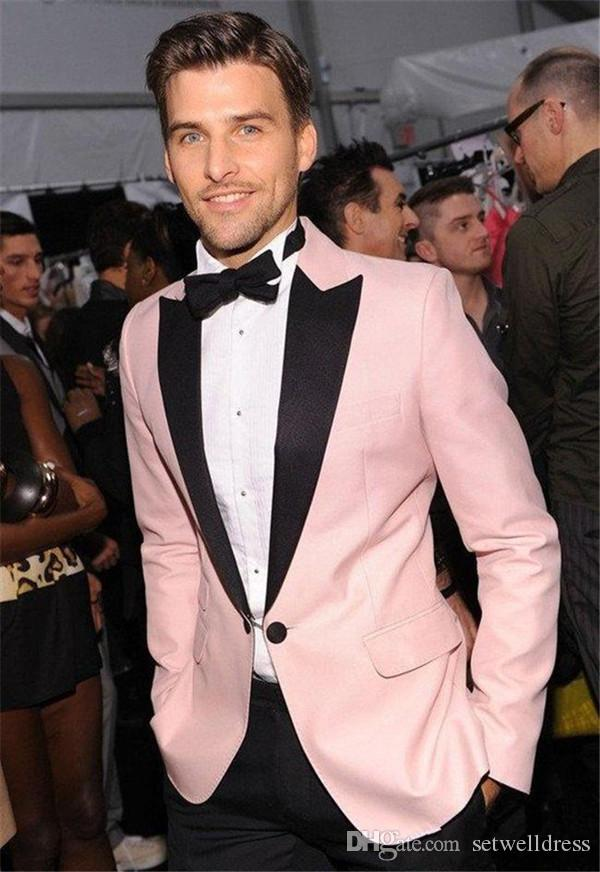 Custom Made Pink Wedding Groom Tuxedos For Men Prom Suit Cheap Two ...