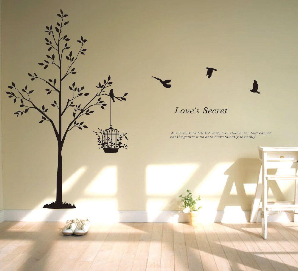 Acquista Large Tree Bird Wall Sticker Camera Da Letto Camera Dei ...