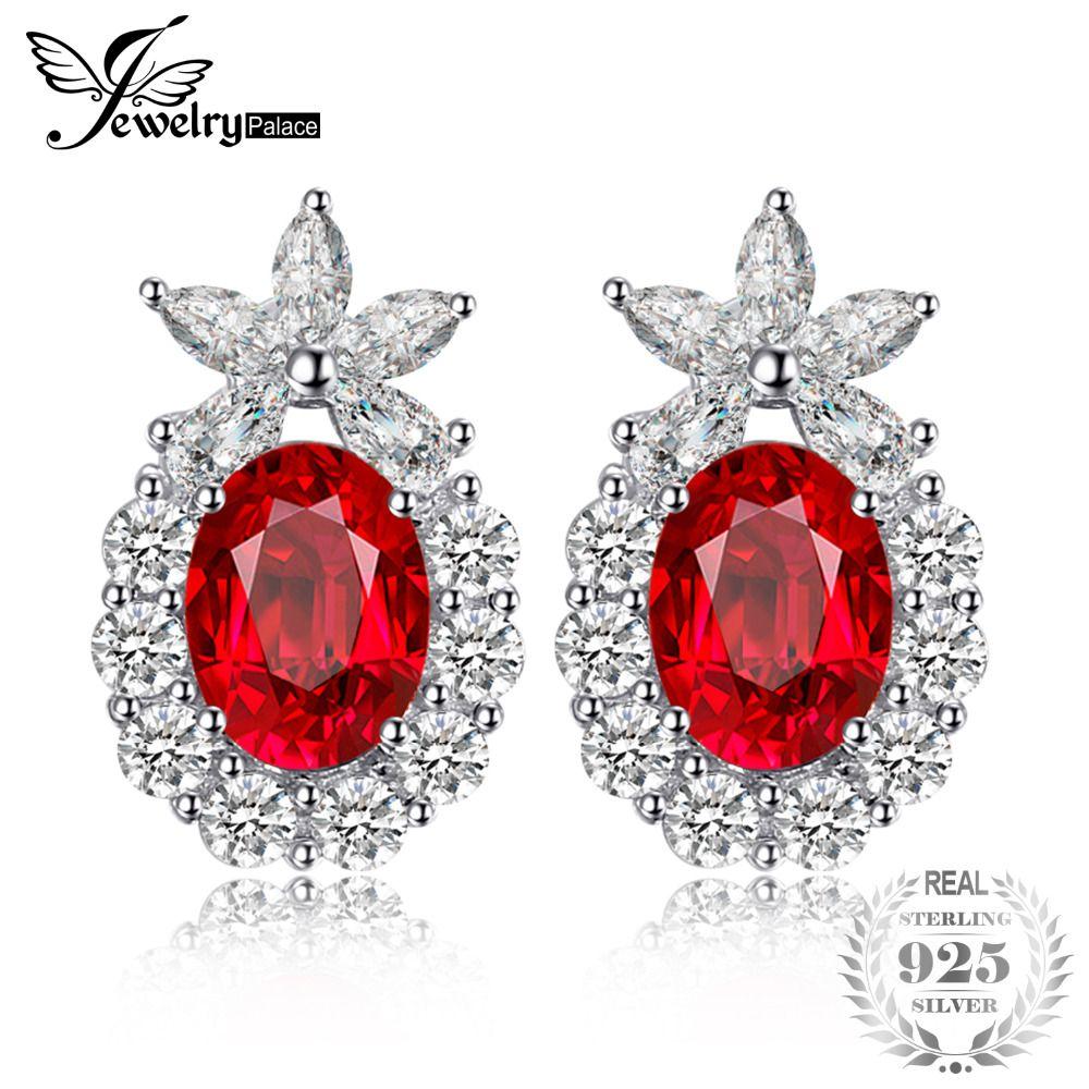 734fe6b1e28ec JewelryPalace Flower 3ct Created Red Ruby Wedding Earrings For Women 925  Sterling Silver Fine Jewelry 2018 Fashion Stud Earrings