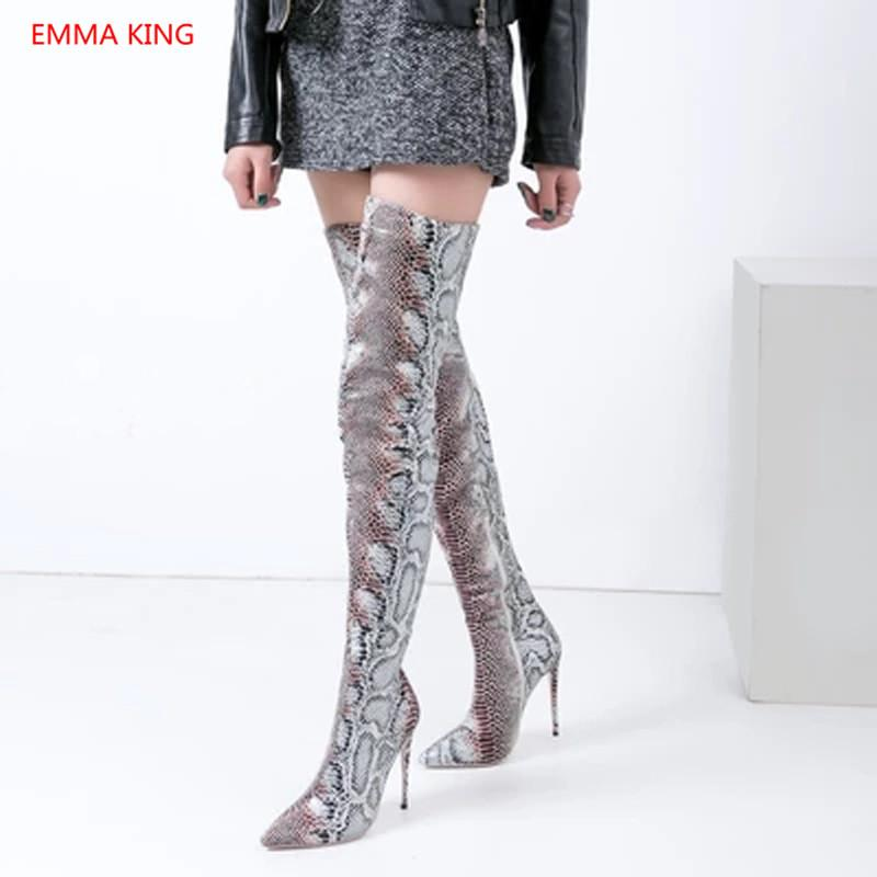 7e81fa90f29d 2018 Pointed Toe Snake Print Over Knee Boots Ladies Thigh High Motorcycle  Boots Winter Woman Shoes Sexy Stilettos High Heels Boots Uk Winter Boots  From ...