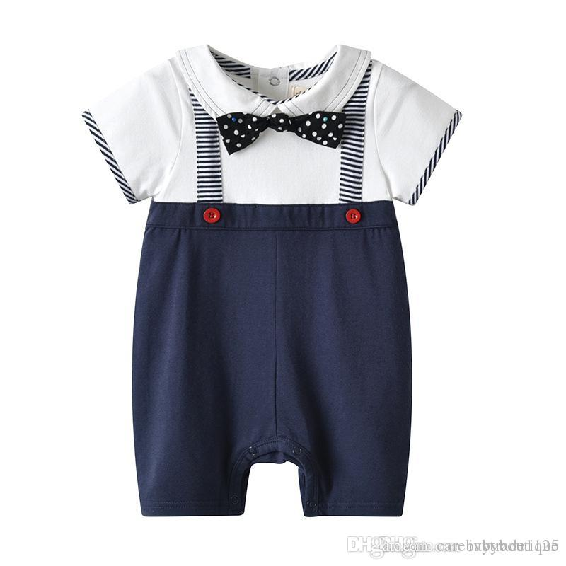 6fe6ba34f INS New Arrivals Summer Baby Kids Clothes Climbing Romper Turn Down ...