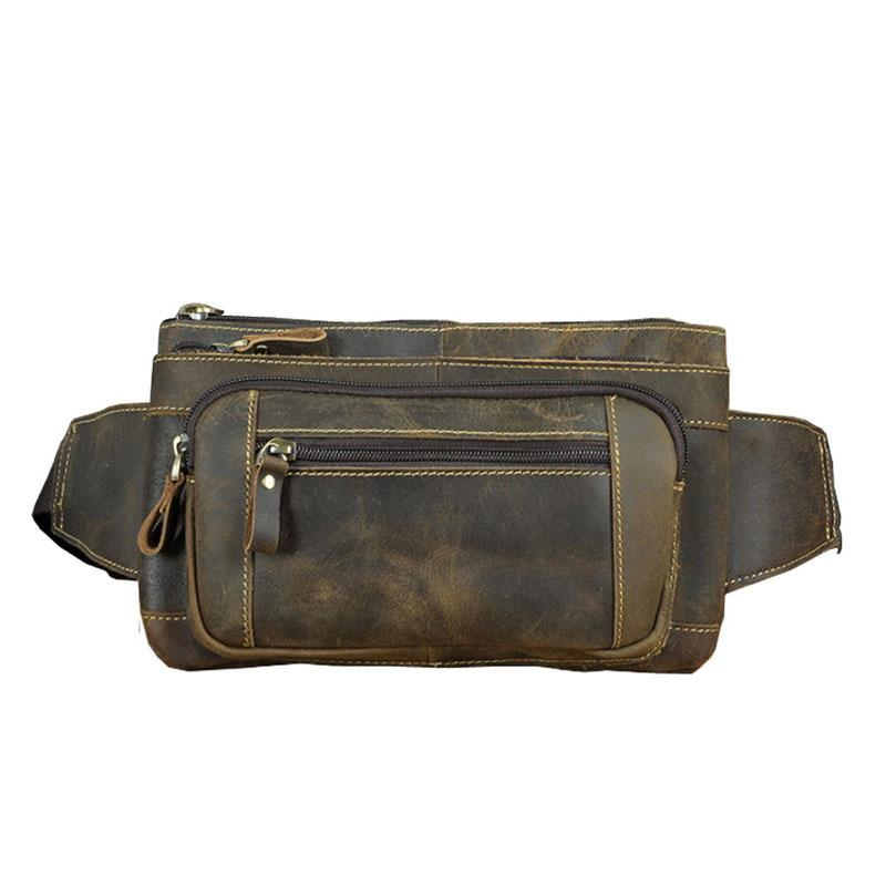 Men Oil Wax Genuine Leather Cowhide Vintage Travel Riding motorcycle Hip Bum Belt Pouch Fanny Pack Waist Purse Phone Wallets