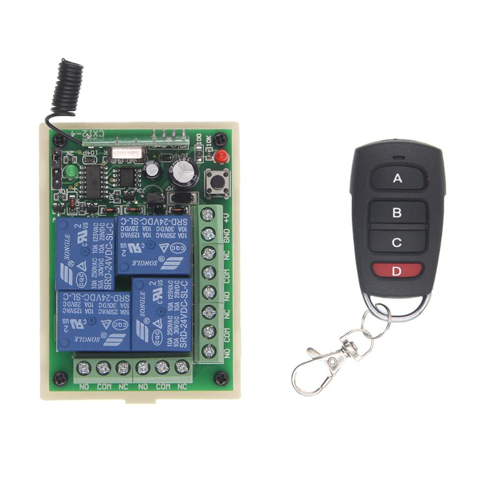 Dc 12v 24v 4 Ch 4ch Rf Wireless Remote Control Switch System 3pcs Delay Timer Relay Module Turn On Off Receiver And Transmitter 315 433momentary Self Locklatched