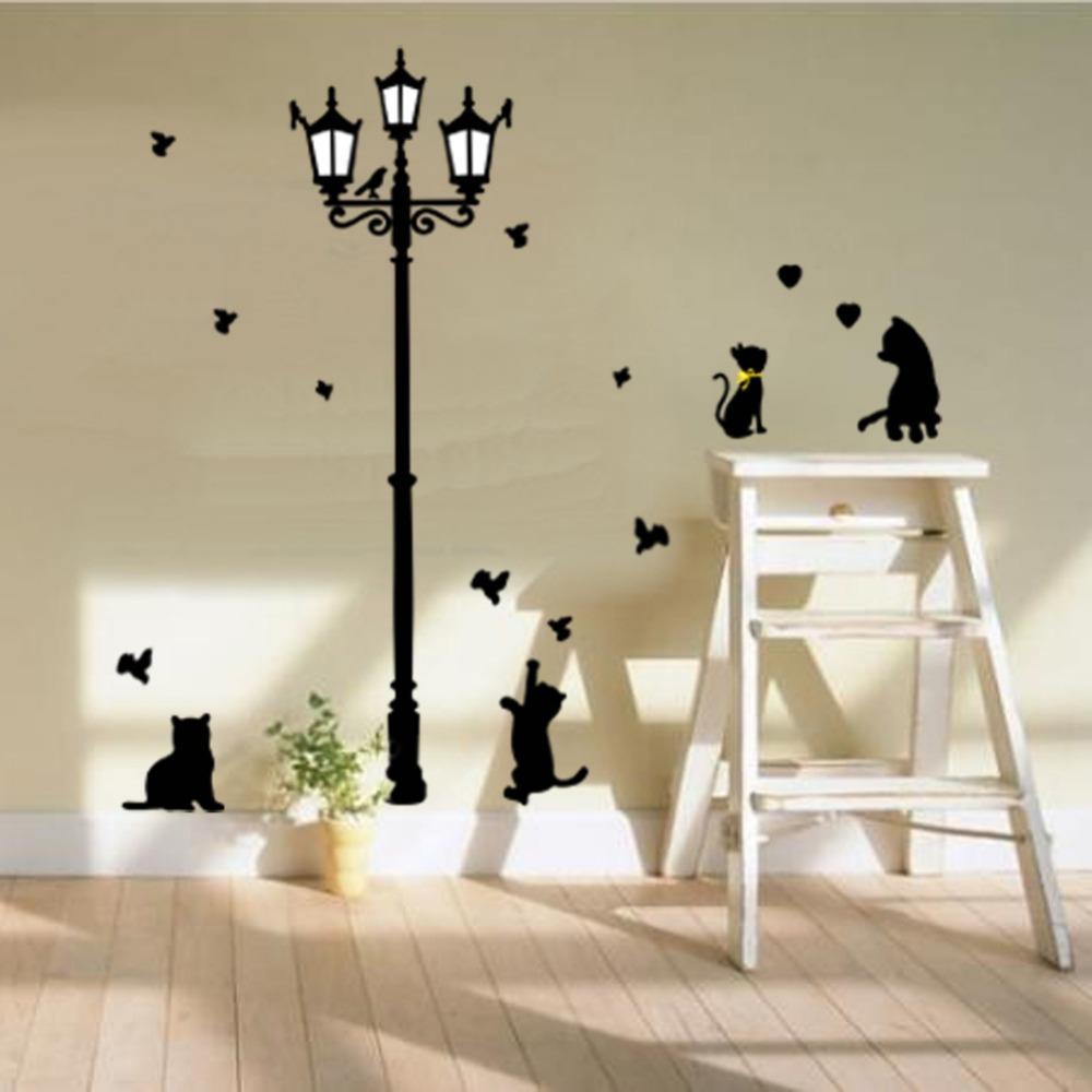 Naughty black Cats Birds and Vintage Street light Lamp DIY Wall Stickers home decoration Livingroom kids Room Wall Sticker
