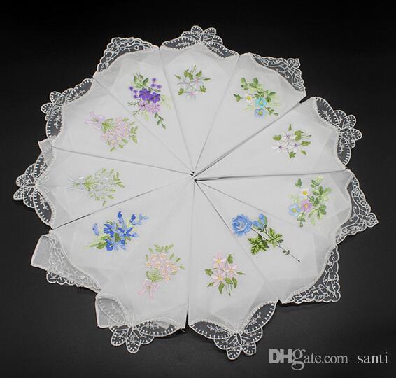 la cosecha de mesa algodón pañuelo pura niña Servilleta Servilleta bordada las mujeres bordadas mariposa de encaje de flores Pañuelo Inicio
