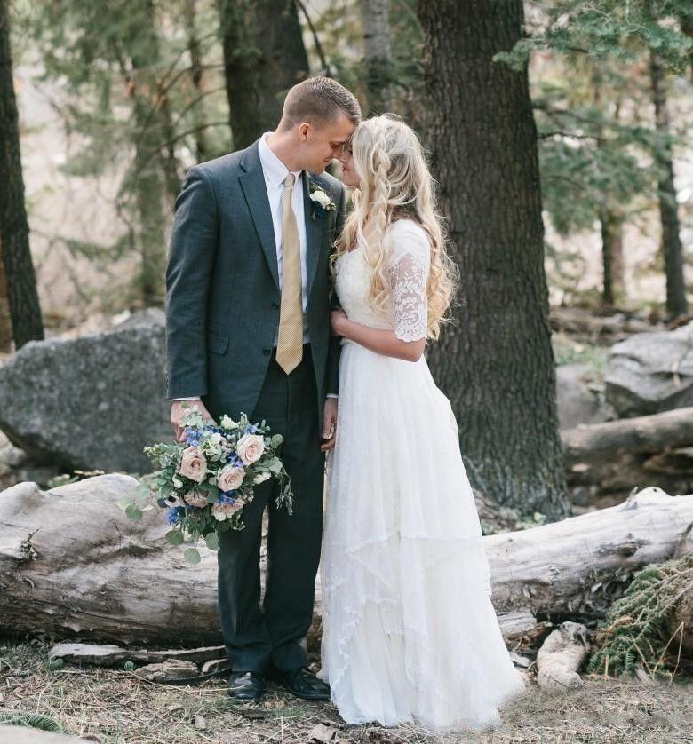 2018 Western Country Bohemian Forest Abiti da sposa in chiffon di pizzo Modesto scollo a V mezze maniche lunghe abiti da sposa plus size abito matrimoni