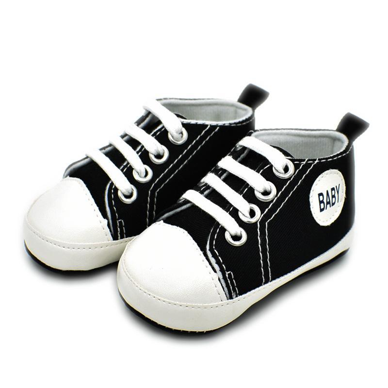 Newborn Baby Boys Grils Shoes Canvas Shoes Anti Slip Lace Up Soft ... 1253f82d27c1