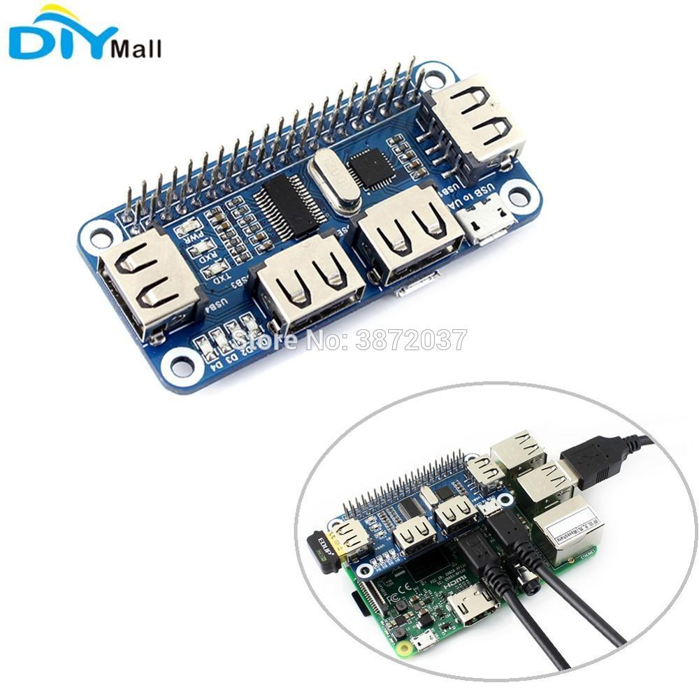 4 Port USB HAT Extension Board USB to UART Serial Debugging for Raspberry  Pi Zero/Zero W/B /2B/3B/3B
