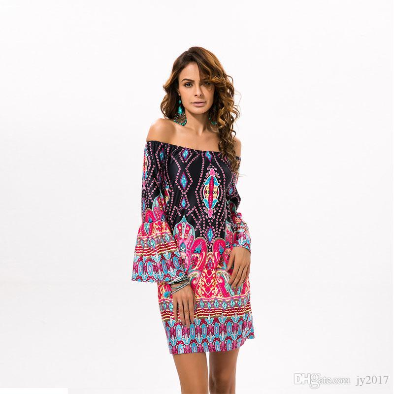 cc6c8a591 Compre 2019 Estilo Popoular Estilo De Moda Vestido De Mujer Vestido Nacional  Palabra Falda De Cuello Estilo Tailandés Deach Dress174123. A  30.16 Del  Jy2017 ...