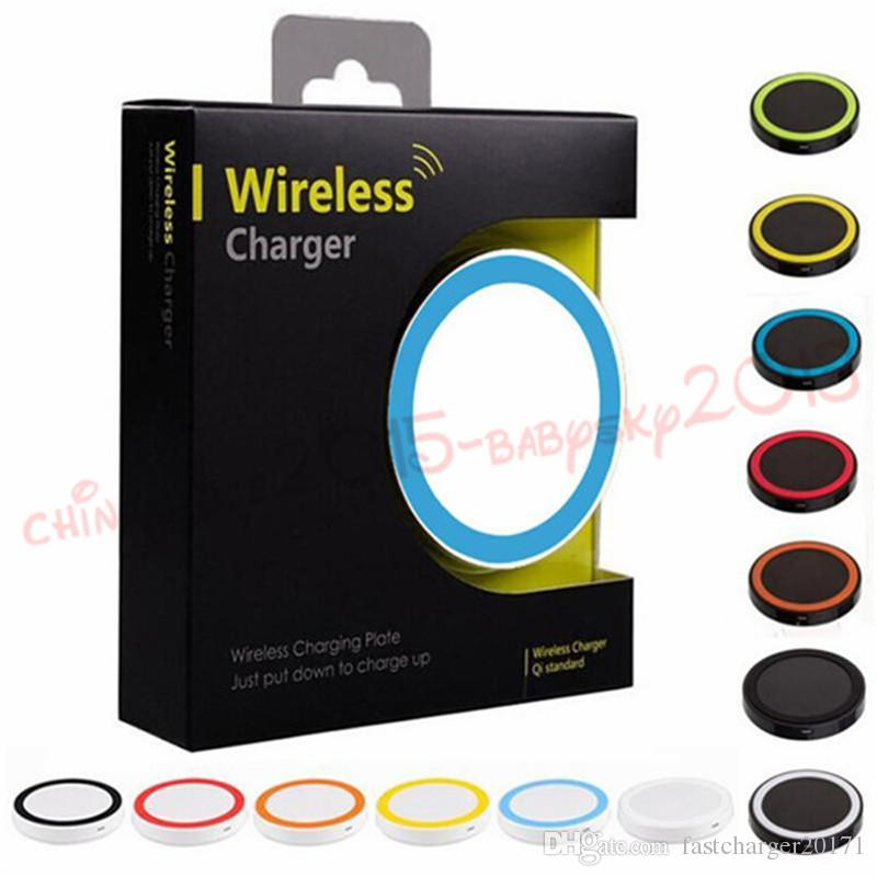 Colorful S6 Qi Wireless Charger Pad Cell phone Mini Charge Pad For Qi-abled device Samsung nokia htc LG cellphone with retail package