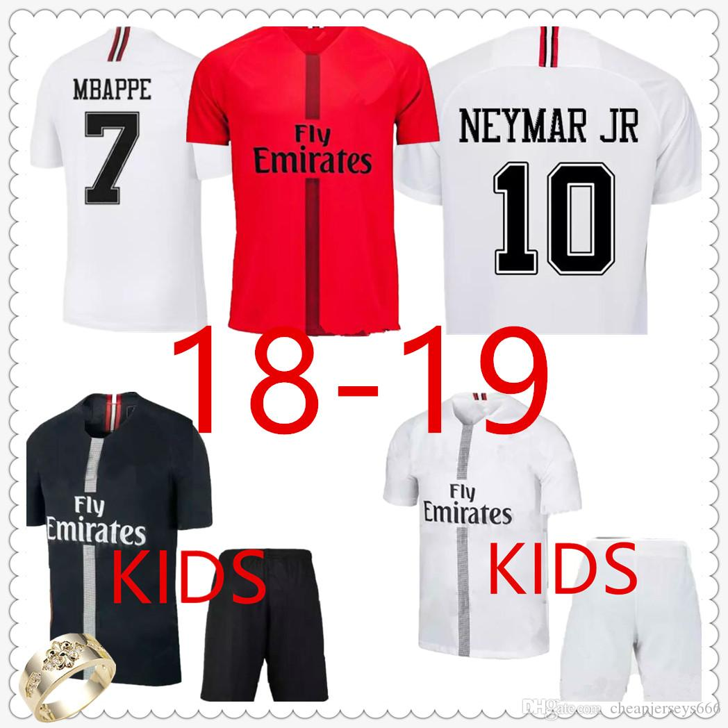 69f9de4ac2fd7f 2019 Psg Adult Home Away Soccer Jersey Paris Saint Germain 18 19 Psg Kids  Kit Mbappe CAVANI Child Football Jersey Maillot De Foot Football Shirt From  ...