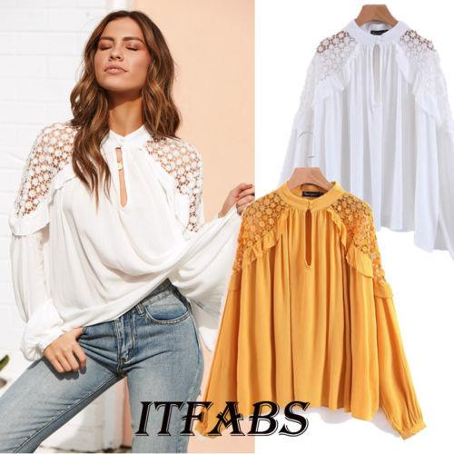 677b29adf27fd New Fashion Lace Splice Shirt Women Long Sleeve Loose Shirts Lace Shoulder  Hollow Lady Casual Blouse Shirt Top Yellow&White