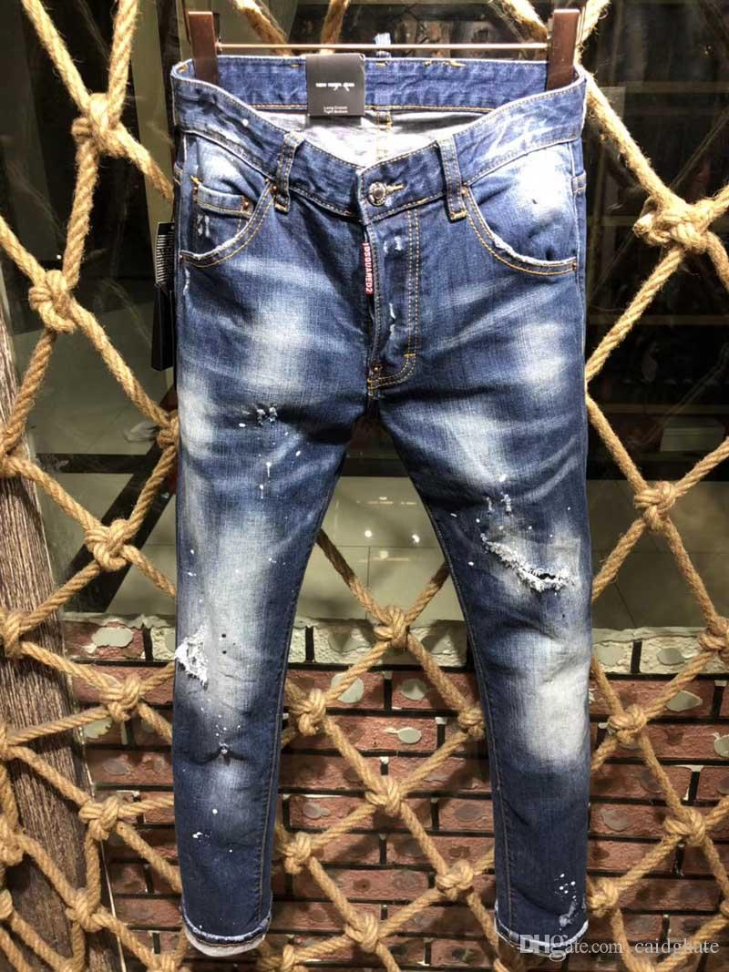 d14bbf6c1 Compre Nueva Moda Jeans Hip Hop Rock Moto Para Hombre Ropa De Diseñador  Casual Apenado Ripped Skinny Denim Biker Jeans Hombres Pantalones D2 # 0131  A $96.86 ...