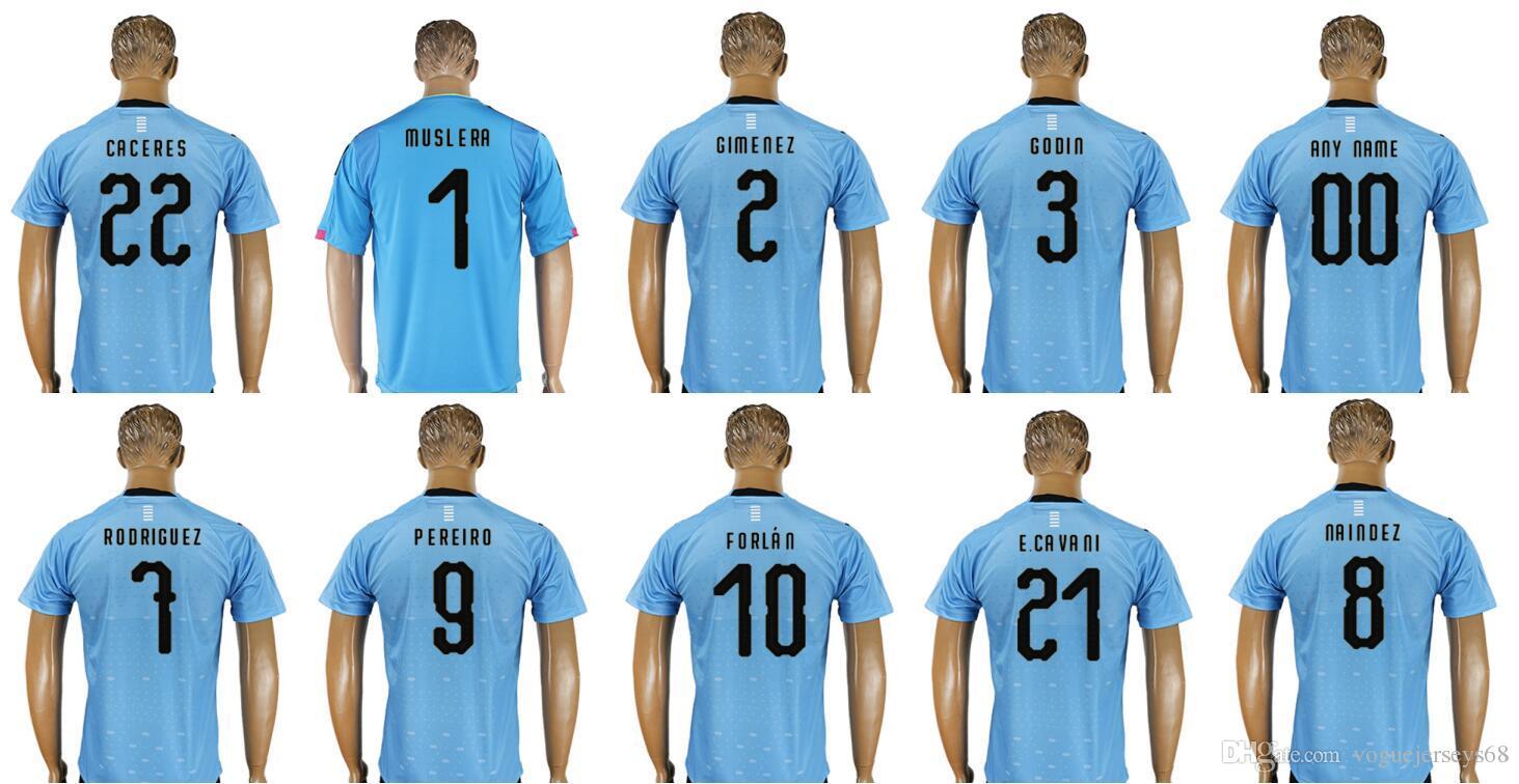 2019 Mens Uruguay  1 Fernando Muslera 3 Diego Godin 7 Cristian Rodriguez 10  Diego Forlan 21 Edinson Cavani Uniforms Shirts Sports Soccer Jerseys From  ... 71f6d67d2
