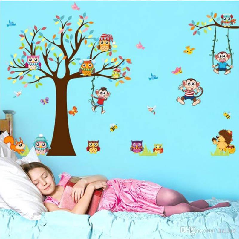 Großhandel Waldtiere Baum Wandaufkleber Für Kinderzimmer Affen Bär ...