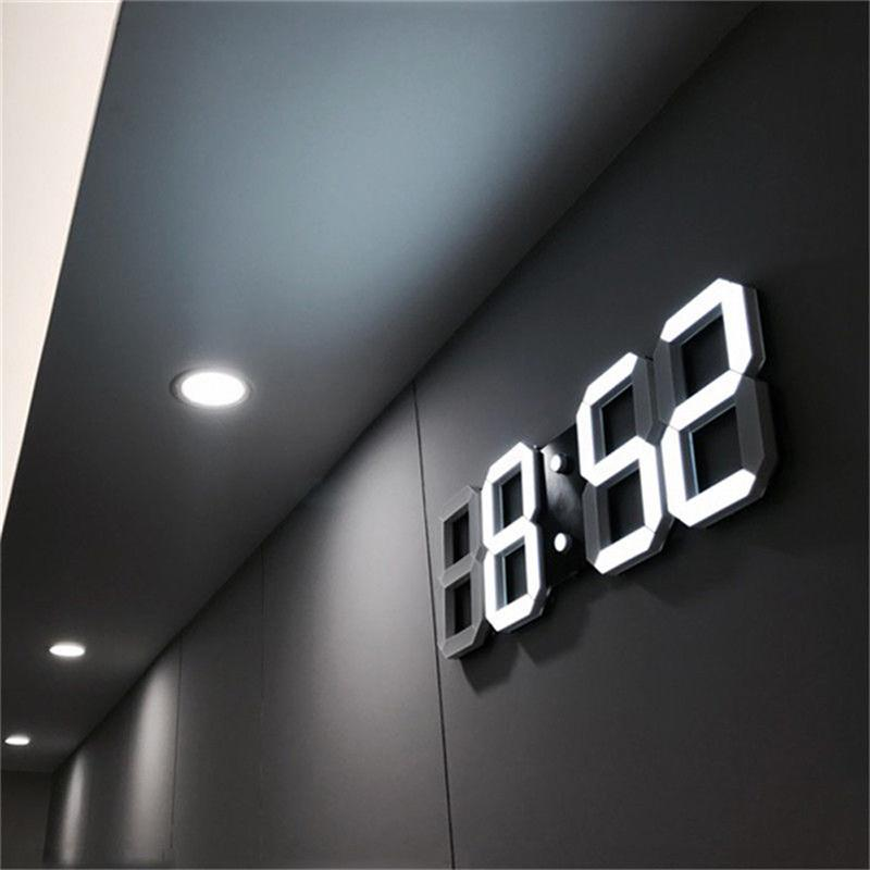 3d Led Wall Clock Modern Digital Alarm Clocks Display Home Kitchen