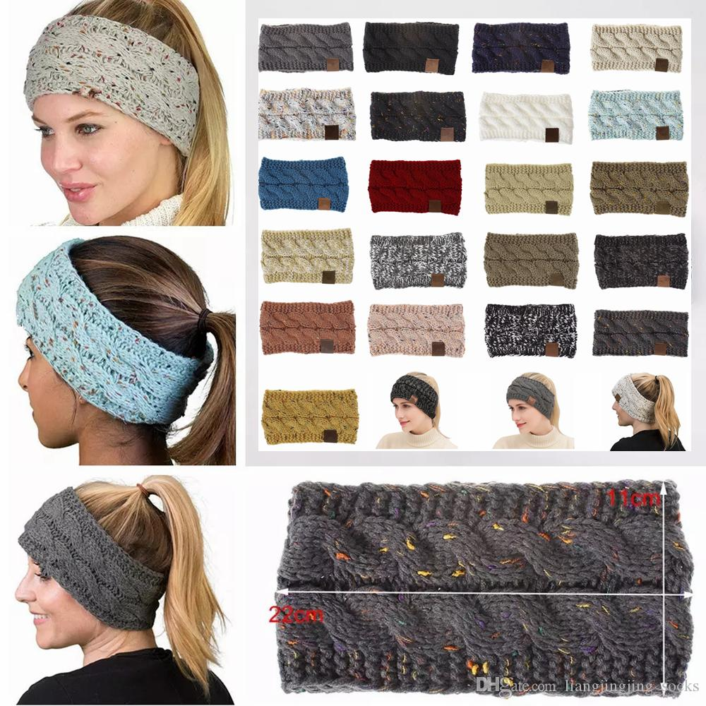 21Colors Knitted Crochet Headband Women Winter Sports Headwrap Hairband Turban Head Band Ear Warmer Beanie Cap Headbands AAA836-1 50pcs