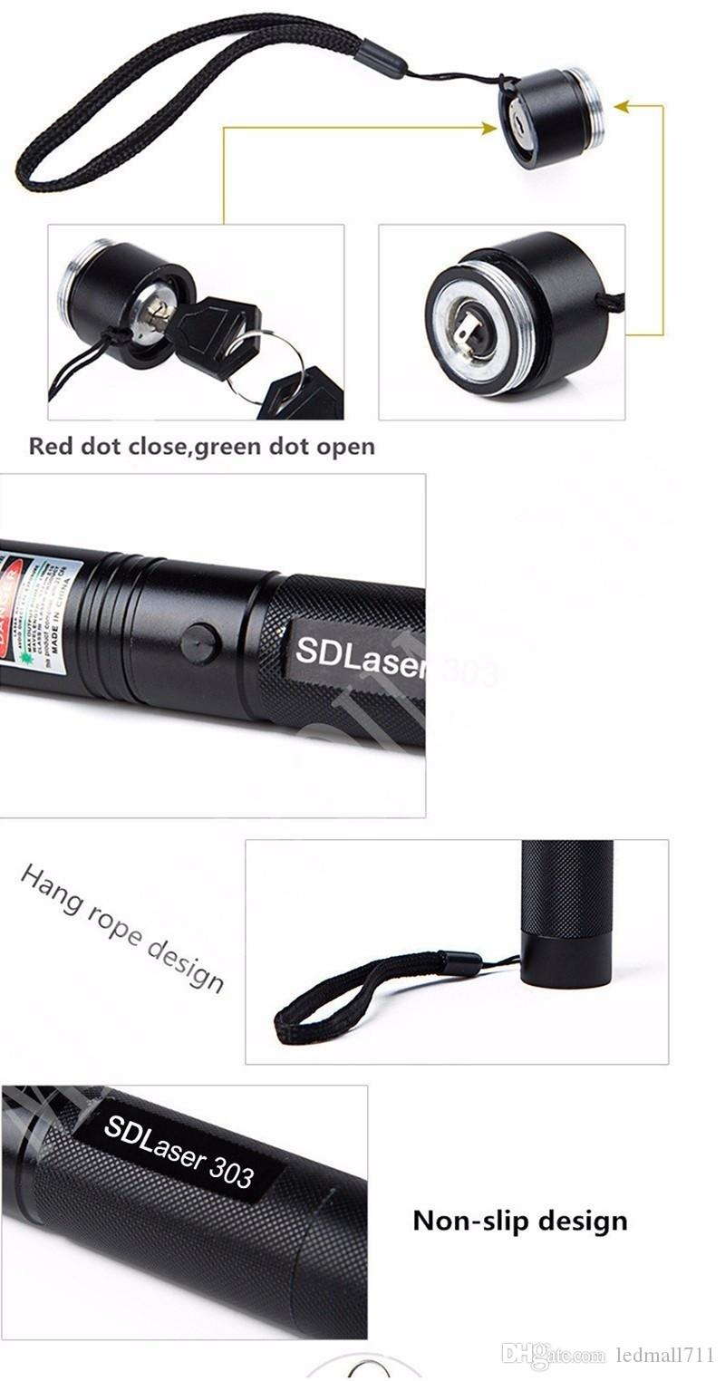 Laser 303 Long Distance Green SD 303 Laser Pointer Powerful Hunting Laser Pen Bore Sighter +18650 Battery+Charger