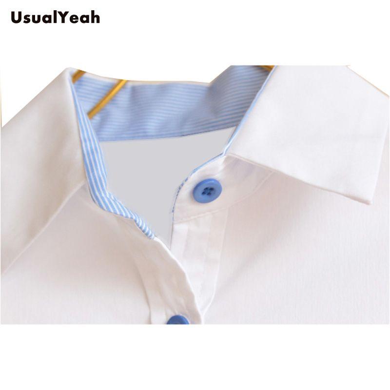 Novo 2017 Lady moda manga longa camisa OL botão sólido turn down collar patchwork corpo blusa camisas mulheres SY0175 branco azul