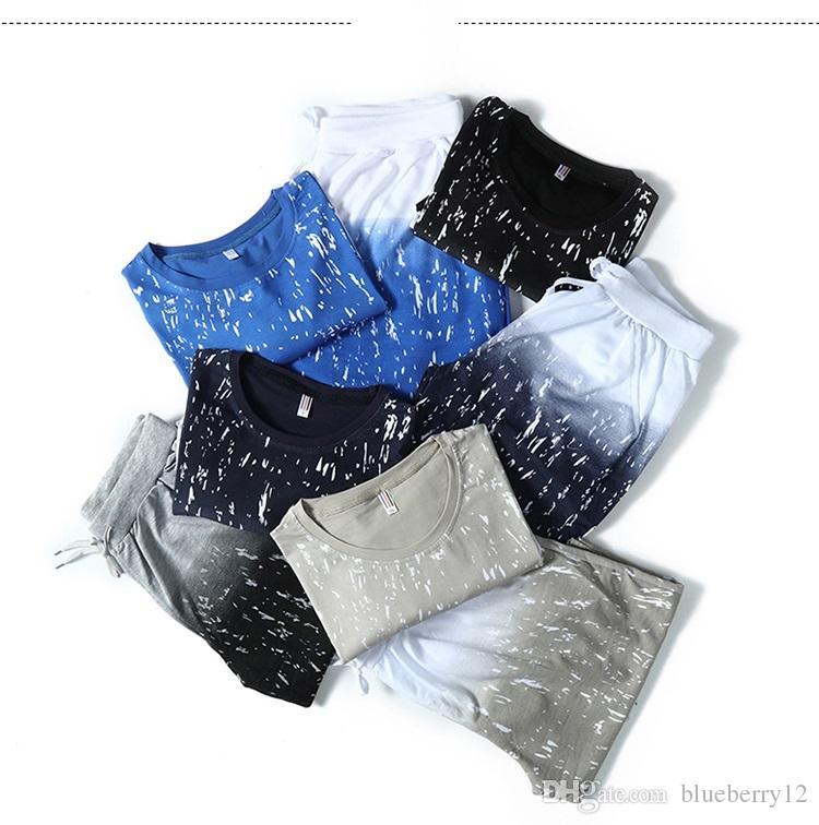 M-4XL Fashion Casual Sport tracksuits Short Sleeve Thin Summer Mens Short Sleeve T-shirt Mens Home Wear Suits