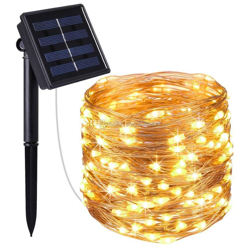 10m 20m LED Outdoor Solar Lamps 100/200 LEDs String Lights Fairy Holiday Christmas Party Garland Solar Garden Waterproof Lights