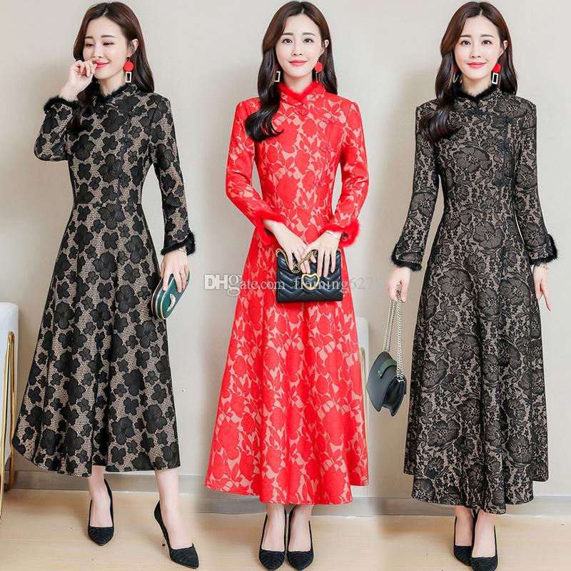 a5325e086ef Winter Vestido Longo Women Dresses Fur Collar Long Cheongsam Dress Vintage  Elegant Casual Lady Party Gown Chinese Style Tunics Long Sleeve Casual  Dresses ...