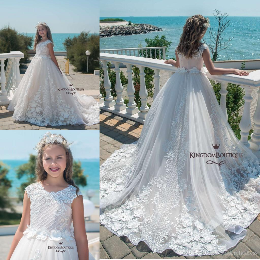 78a80a872 2019 Beach White Blush Illusion Cap Sleeves Lace Flower Girl Dresses With  Bow Ball Gown First Communion Dresses Little Girls Pageant Gowns Ivory  Flower ...