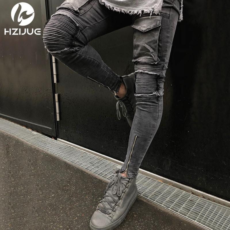 4edfa2b907b Wholesale 2018 Hi-Street Men Knee Eversion Ripped Big Hole Men Jeans  Streetwear Skateboard Straight Pants Man Casual Elastic Jeans Online with   60.41 Piece ...