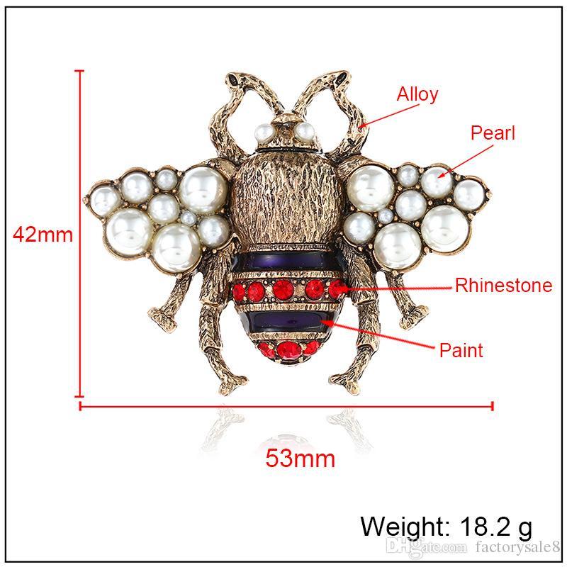 Kristal Giyim Broş Retro Sevimli Arı Inci Pin Alaşım Taş Broş Avrupa Birleşik Devletleri Moda Kalite Takı Kadın Hediyeler Nokta 2 Renk