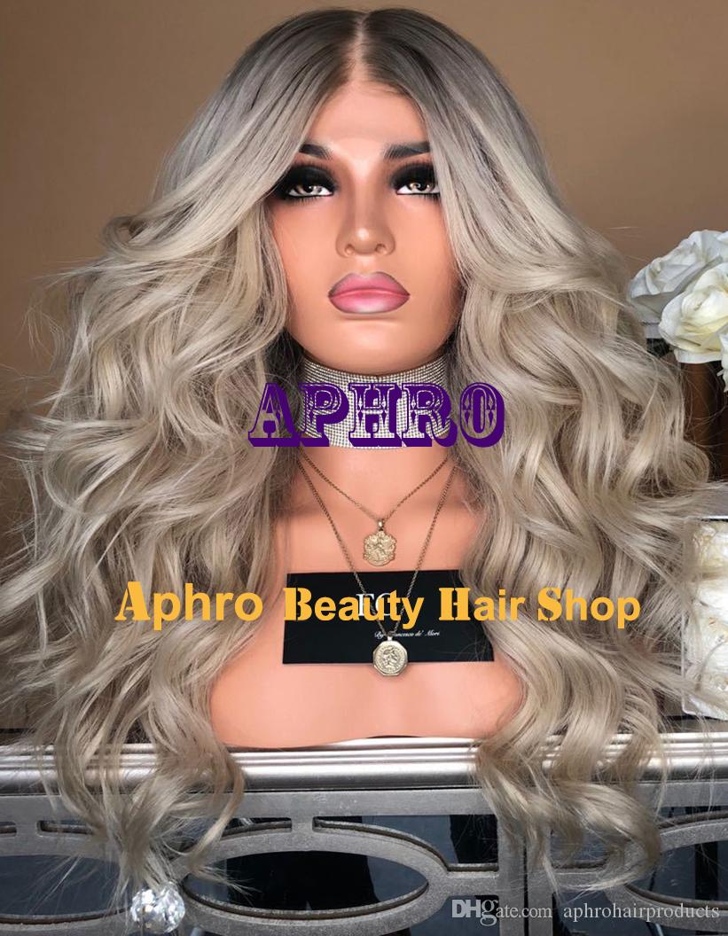 d0fa974105c Luxury European Human Hair Glueless Silk Top Blonde Full Lace Wigs 5X5 Inch  Silk Base Wigs With Dark Roots 180% Density Ombre Wigs