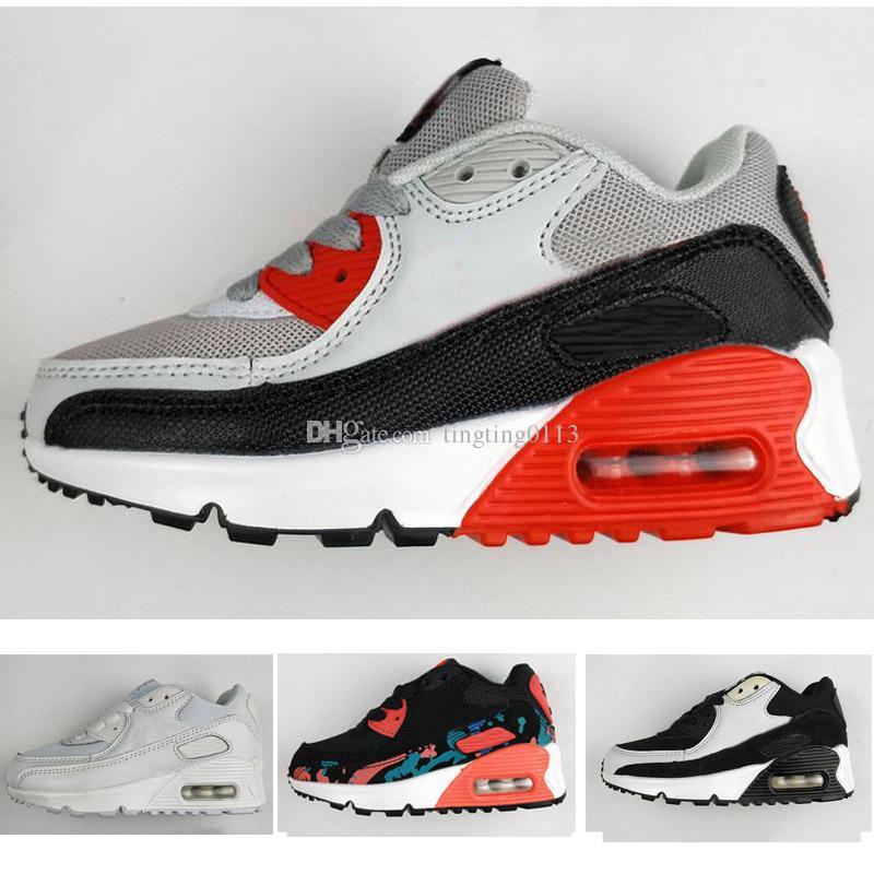 new york 8b913 fc63c ... Nike Air Max 90 Chaussures De Sport Enfants Classiques 90 Chaussures De  Course Noir Blanc Chaussures De Sport Enfants Bébé Fille Surface D  entraînement ...