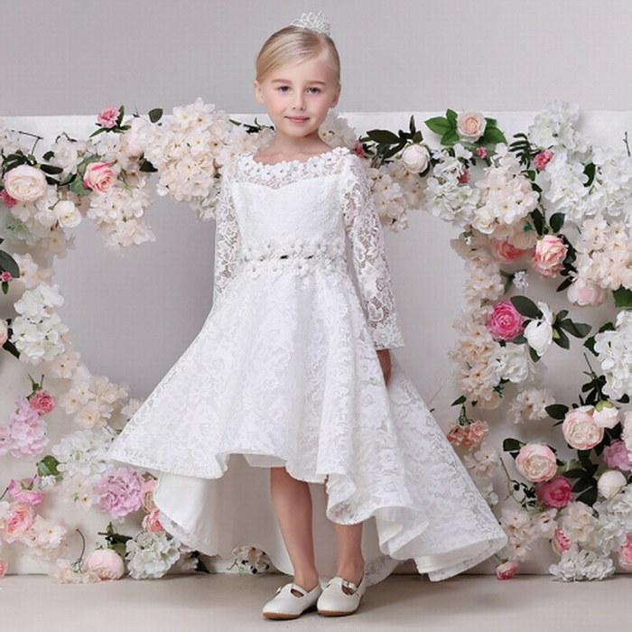 1831f14c650 Charming Princess A Line Asymmetrical Flower Girl Dress Long Sleeves Lace  Pageant Dress ST37 Holy Communion Dresses Ivory Flower Girl Dresses From ...