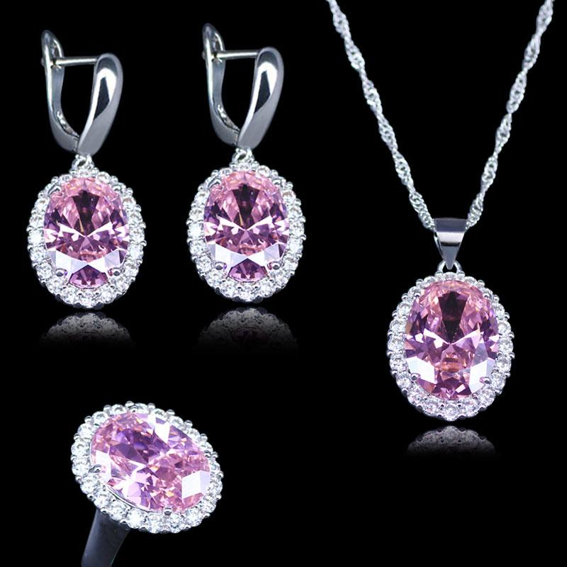 Best Bridal Jewelry Sets Big Egg Square 925 Stamp Silver Color For Women & Lady Pink Crystal Pendant earrings Rings necklace