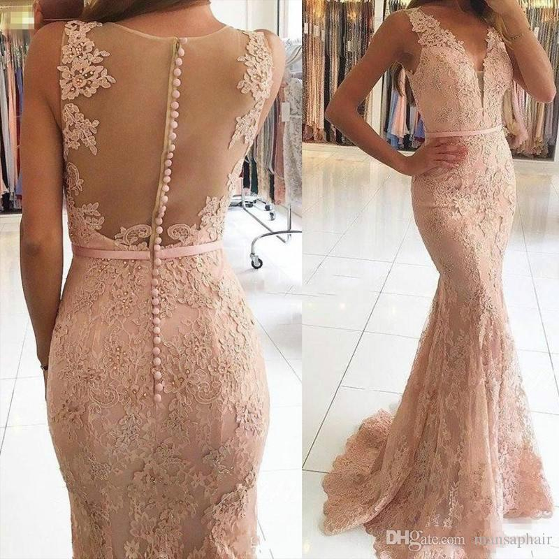 Sexy decote em V Vestidos Wear Illusion Lace apliques de contas Blush rosa Mermaid longo Sheer Voltar 2018 New Formal Party Dress Prom Vestidos
