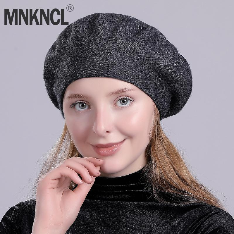 2019 Mnkncl Winter Hat Berets Wool Cashmere Womens Warm Brand Casual