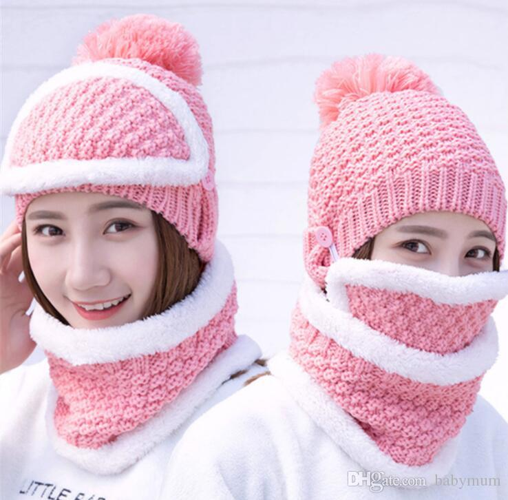 a598eade567 2019 Wholesale Fashion Plush Hats Warm Earmuffs Hat For Girl Women Knitted  Thick Beanies Ski Sports Crochet Hats Best Women Caps Scarf Masks From  Babymum