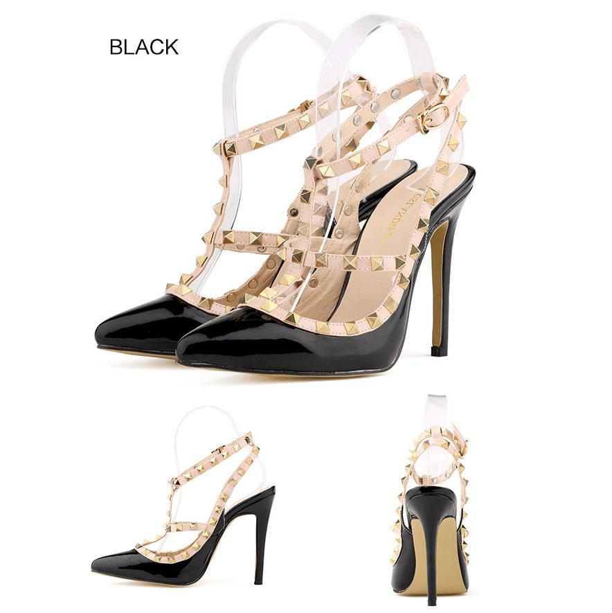 b4fe1d64c17 2018 High Quality Fashion Wedding Women Girls High Heels Heeled Pumps Dress  Shoes Party Fashion Rivets Girls Sexy Pointed Toe Shoes Pumps Shoes Shoe  Sale ...