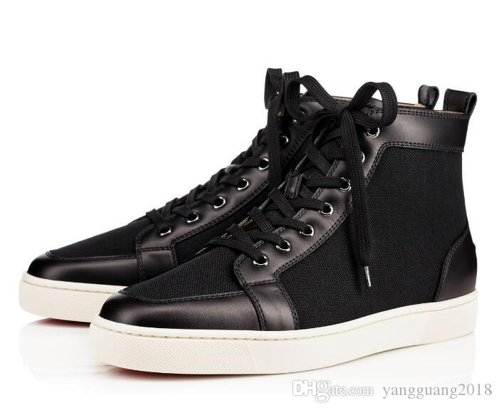 bc8966cfec5 2018 New Arrival Famous Brand Mens Women Black Leather  Canvas High Top Red  Bottom Sneakers