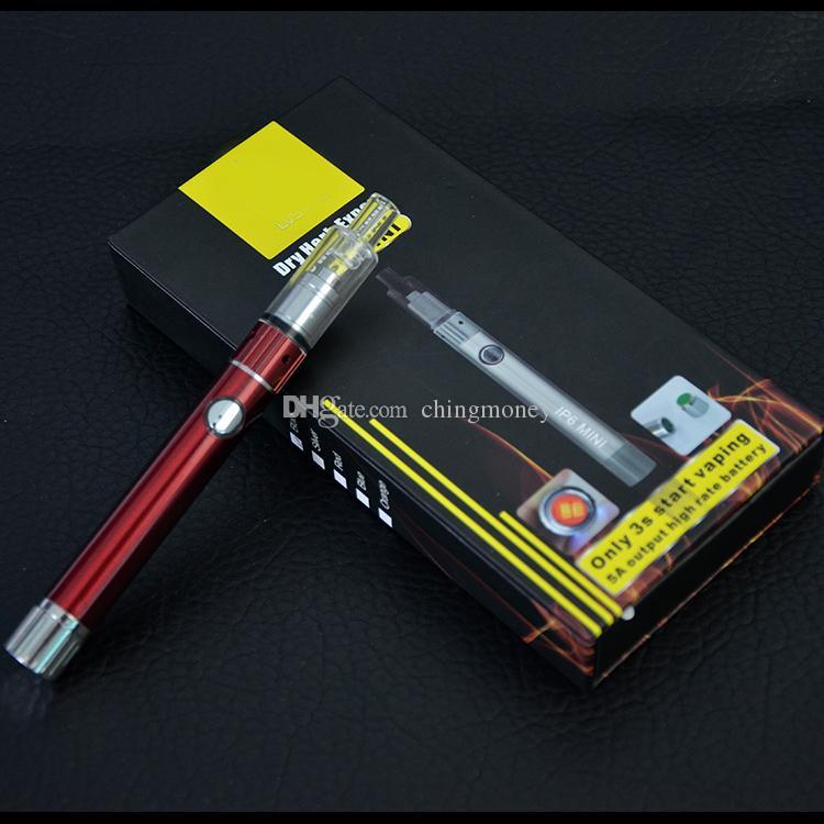 IP6 mini kit penna vaporizzatore cera Dual Quartz Rod Coil e starter kit di sigarette Dry Herb atomizzatore Glass Globe Skillet Cannon Tank