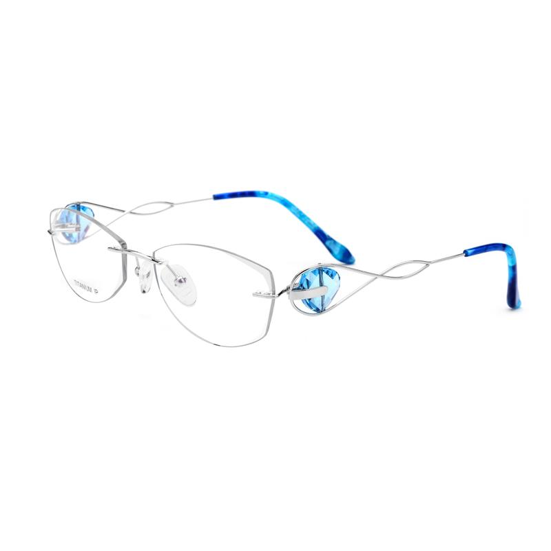 a64a9e48868f 2019 Blue Diamond Crystal Clear Glasses Women Eyeglasses Rimless Silver  Titanium Lady Glasses Size  54 17 135mm From Gwyseller