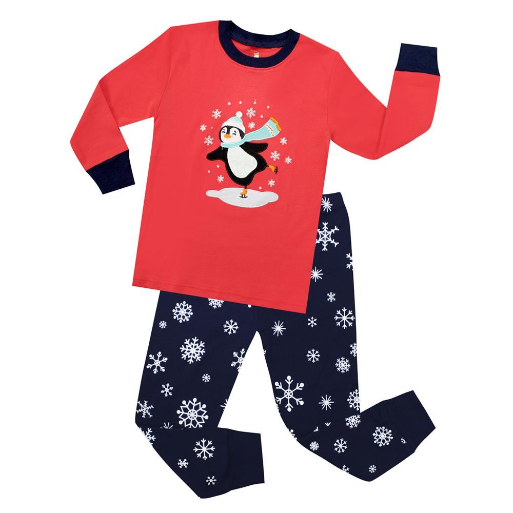 7cd1a8568 Kids Christmas Penguin Sleepwear 100% Cotton Long Sleeve Snowman ...