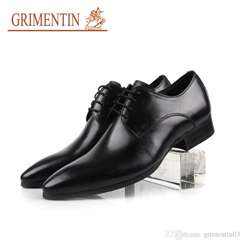2d7609f79a44 GRIMENTIN Italian Fashion Formal Men Dress Shoes Genuine Leather Oxford  Shoes High Quality Black Brown Orange Wedding Business Mens Shoes Cheap  Heels ...
