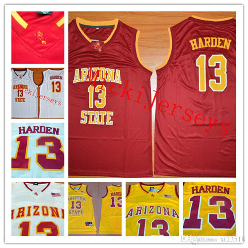 dbf34110b 2019 Mens NCAA Arizona State Sun Devil James Harden College Basketball  Jersey Stitched White Red  13 James Harden ASU Sun Devil Jerseys S 3XL From  Xt23518