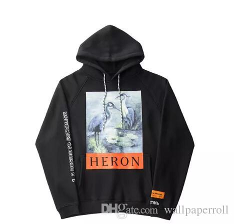 Crane Print Sweatshirts Men Women Hip Hop Heron Preston Hoodies Pullovers  Streetwear Black Heron Preston Sweatshirts 2018 Men Sweatshirts Online with  ... 3139afa51