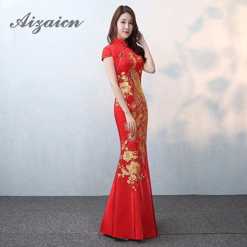 2018 Bride Vintage Cheongsam Long National Chinese Dress Red Qi Pao ...