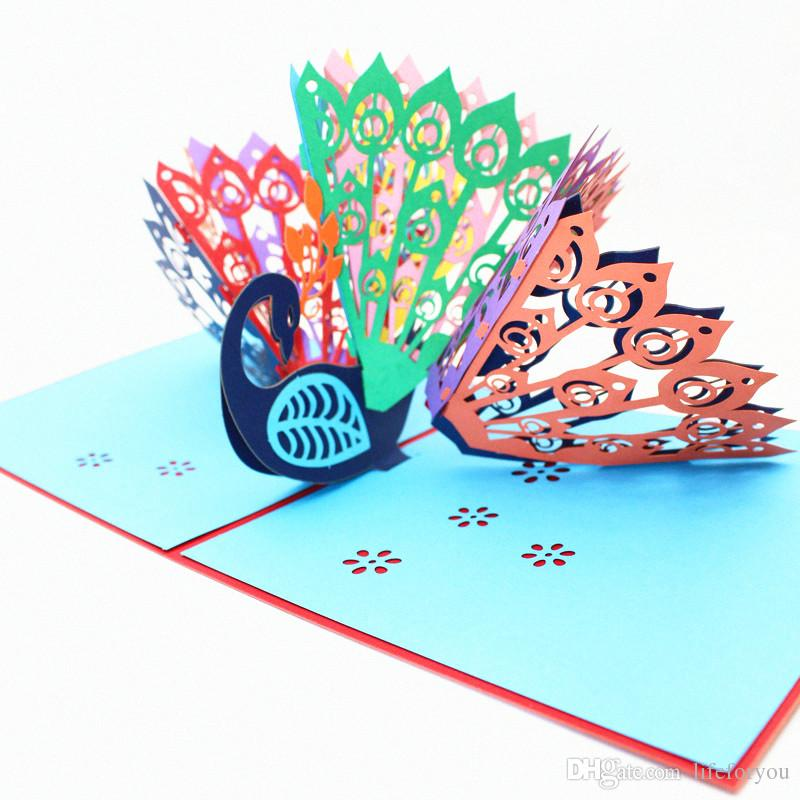Peacock Birthday Wedding Gift Cards Party Decorations Lovers Kids Greeting Anniversary Favors 3D Pop Up Funny Card