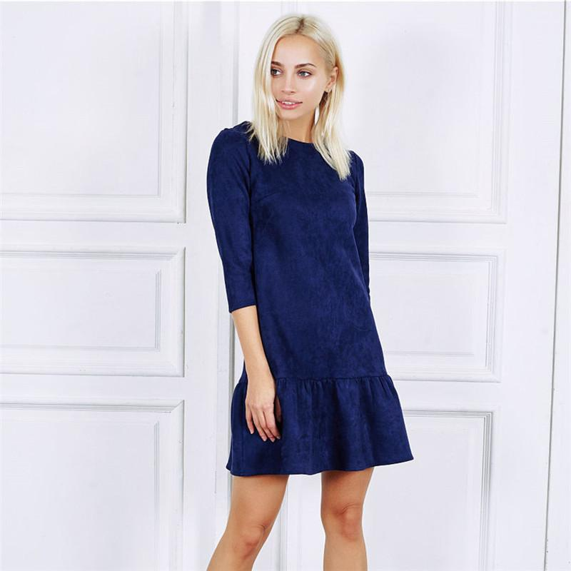 721e973ca0f7 2019 2018 Autumn Women Fashion Velvet Suede Ruffle Casual Mini Dress Autumn  Half Sleeve Vintage Christmas Party Dresses Vestidos From Linglon, ...