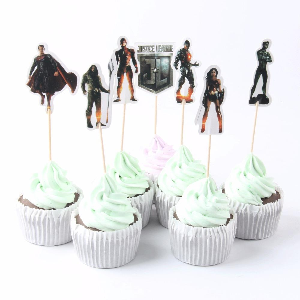 2019 Cartoon Justice League Theme Party Supplies Cupcake Topper Kids Boy Birthday Decorations Baby Shower Cake Picks From Hobarte 2509