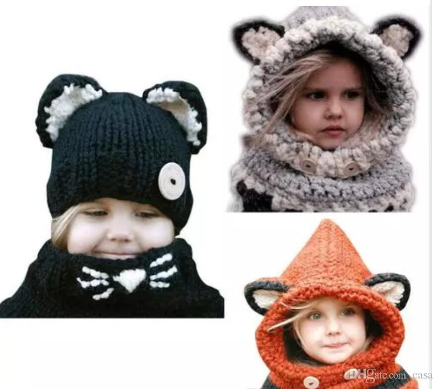 131e7319338 2019 Children  S Hat Rabbit Shawl Autumn And Winter Scarf Wool Hat Ear Warm  Fox Hooded Scarf Hat Wool Knitted Crochet Cap From Casa